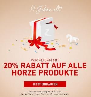 horze Geburtstag 20 Prozent Rabatt auf alle horze Produkte