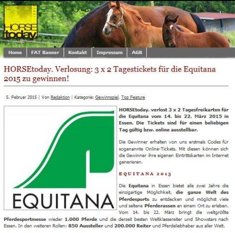HorseToday Freikarten EQUITANA 2015