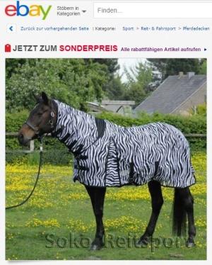 Pferd mit Zebra Fliegendecke