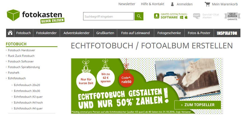 Echtfotobuch gestalten und nur 50 % zahlen bei fotokasten