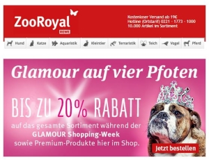 ZooRoyal Glamour Shopping Gutschein 20 %