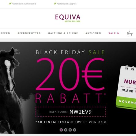 Black Friday Sale bei EQUIVA – 20 Euro Rabatt ab 80 Euro Einkauf