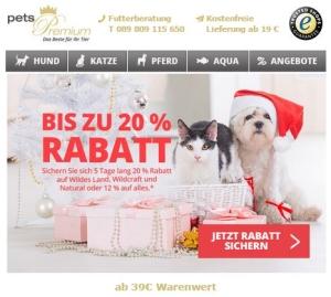 20 % pets Premium Weihnachtsrabatt