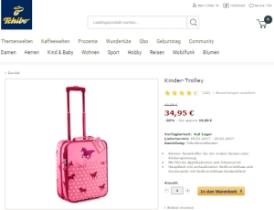 Rosa Kinder-Reisetrolley mit Pferdemotiven