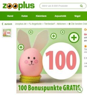 Ostereier suchen und bis zu 300 gratis Bonuspunkte bei zooplus sichern