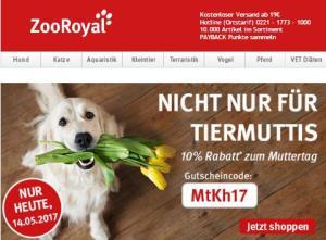 ZooRoyal Gutschein zum Muttertag 2017