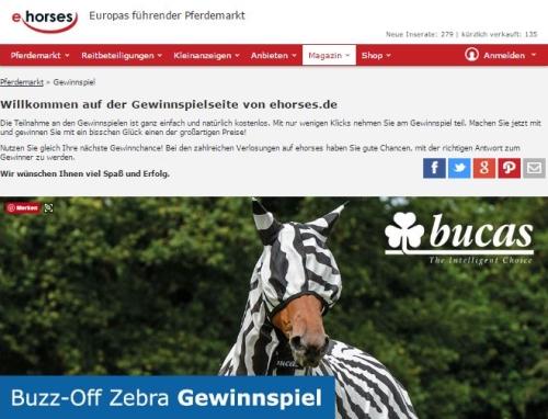 ehorses Gewinnspiel Fliegendecke und -maske im Zebra-Look