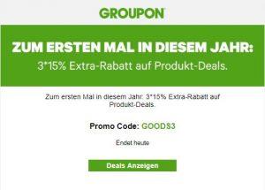 Groupon Extra-Rabatt auf Produkte 15 %