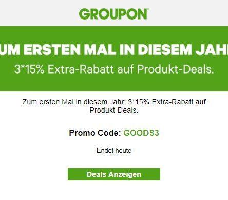 3 x 15 % Extra-Rabatt auf Produkt-Deals bei Groupon