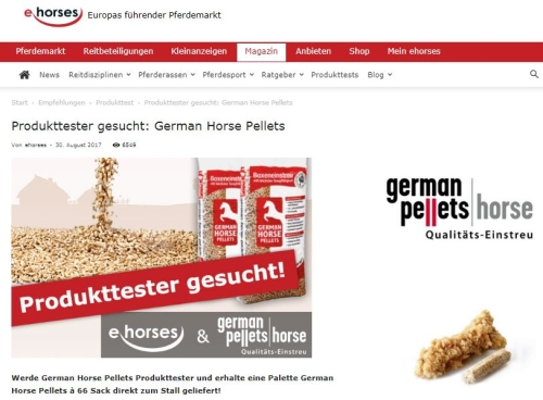 ehorses sucht Produkttester für German Horse Pellets
