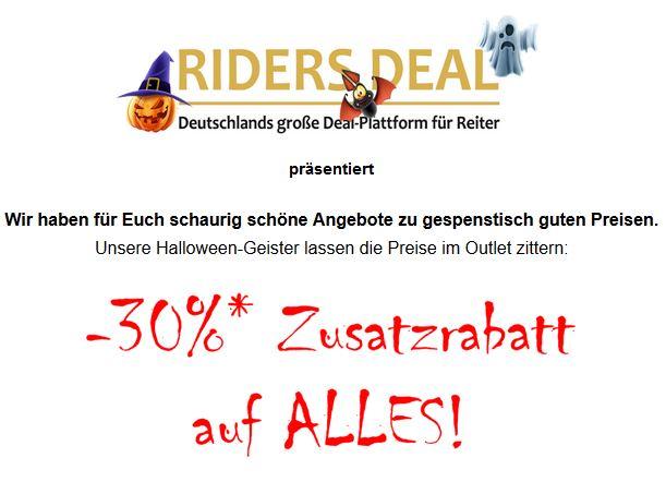 RidersDeal Halloween-Rabatt 30 %