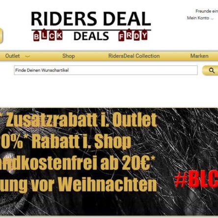 BLACK FRIDAY bei Riders Deal: 25 % Zusatz-Rabatt im Outlet – 20 % Rabatt im Shop