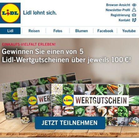 Lidl verlost 5x einen 100 € Gutschein