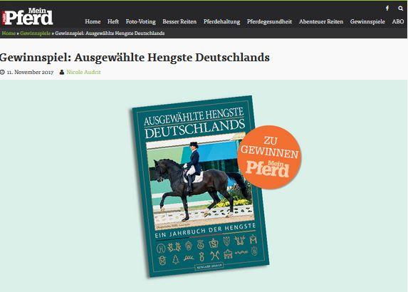 """Gewinnspiel Mein Pferd """"Ausgewählte Hengste Deutschlands"""""""