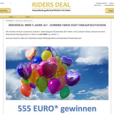 5 Jahre RidersDeal: 555 € Einkaufsgutschein zu gewinnen
