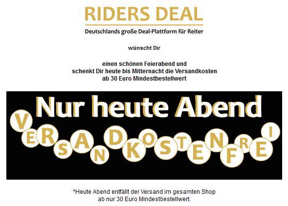Nur heute Abend: RidersDeal schenkt euch die Versandkosten