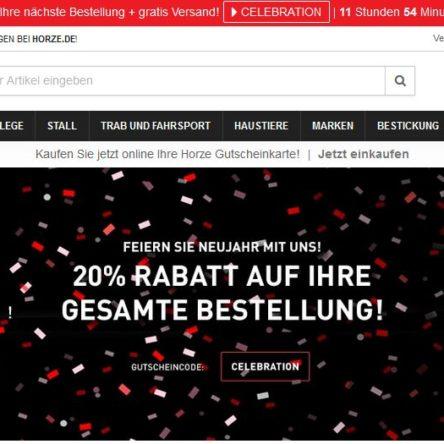 Horze Silvester-Gutscheincode: 20 % Rabatt auf die gesamte Bestellung