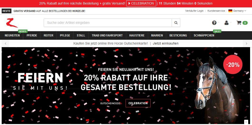 20 % Silvester-Rabatt Horze.de