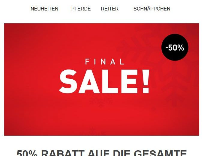 Horze Final Sale 50 % Rabatt auf die Winterkollektion
