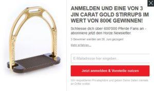 Horze Newsletter Verlosung Jin Carat Gold Stirrups
