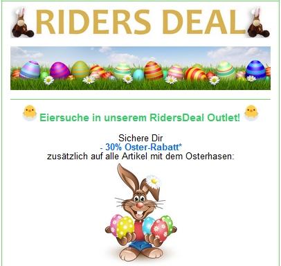 RidersDeal 30 Prozent Zusatzrabatt Ostereier-Suche