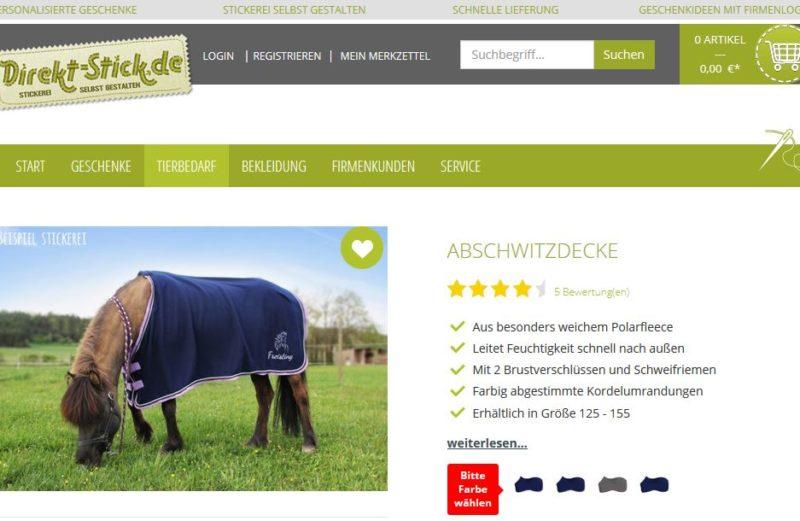 Direkt-Stick.de Screenshot Pferdedecke