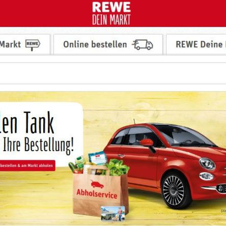 REWE Abholservice testen – 5 € Tankkarte geschenkt bekommen + FIAT 500 Gewinnspiel