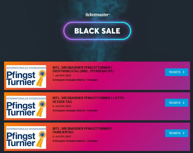 Ticketmaster Black Friday Wiesbadener Pfingstturnier