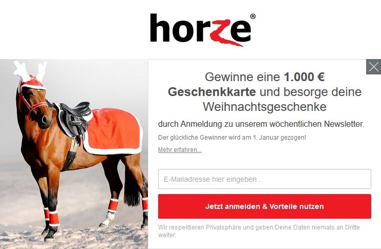 Horze Newsletter Gewinnspiel Weihnachten 1.000 €
