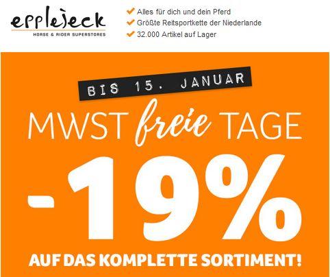 MwSt-freie Tage bei Epplejeck - Spare 19 %
