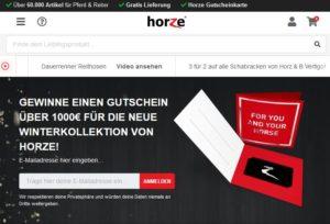Horze Newsletter Verlosung 1000 Euro Gutschein zu gewinnen
