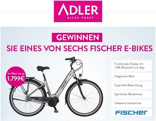 ADLER verlost 6 Fischer E-Bikes