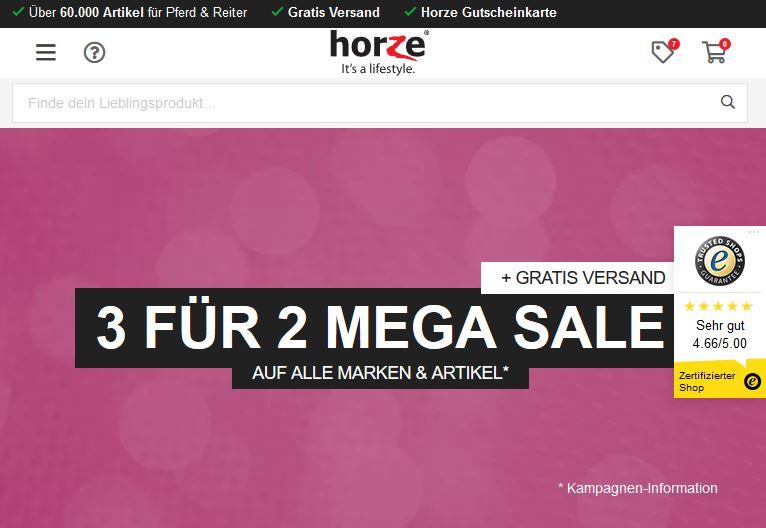Horze Mega Sale - 3 für 2 auf alle Marken und Artikel + Gratis Versand