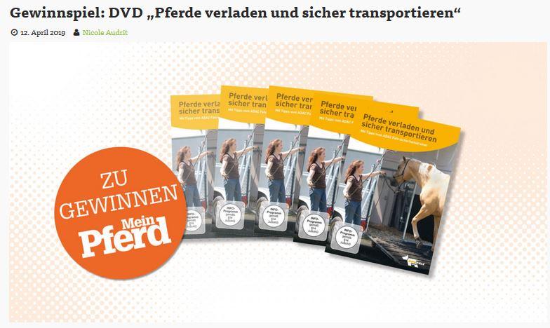 Mein Pferd verlost 5 x DVD Pferde verladen und sicher transportieren