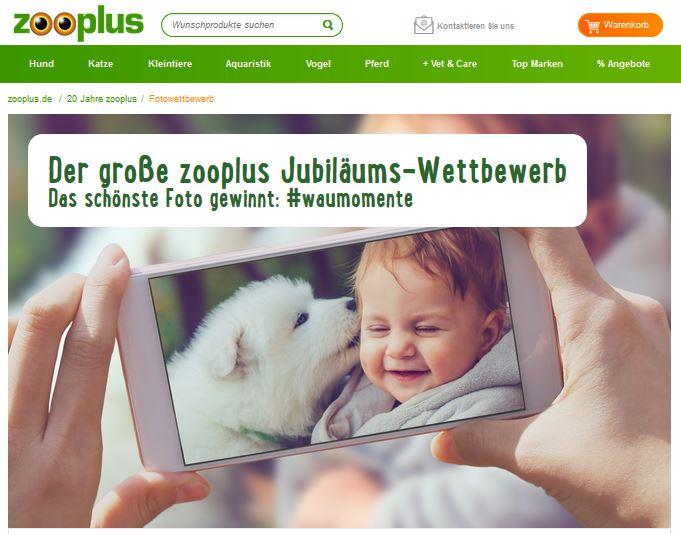 Der große zooplus Jubiläums-Wettbewerb Das schönste Foto gewinnt #waumomente