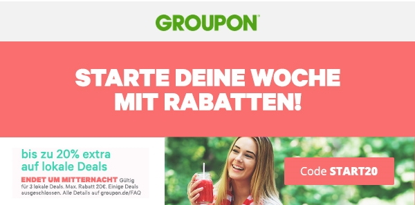 20 % Extra-Rabatt auf 3 Lokale Deals bei Groupon