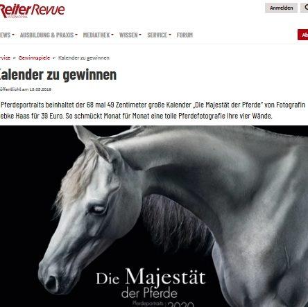 """3x Kalender """"Die Majestät der Pferd"""" zu gewinnen"""