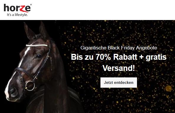 Black Friday bei Horze. Sichere dir bis zu 70 % Rabatt + gratis Versand!