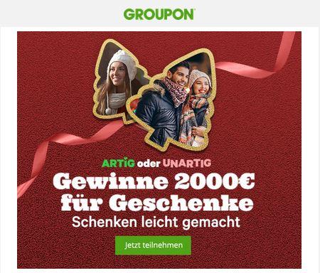 Gewinne 2000 Euro Groupon Guthaben für Geschenke