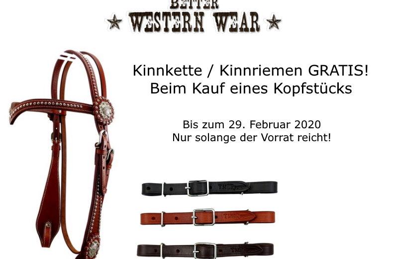 Better Western Wear Aktion Kinnriemen Kinnkette Gratis