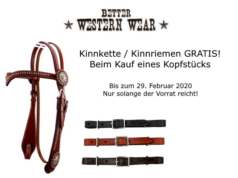 Better Western Wear schenkt euch eine Kinnkette / Kinnriemen beim Kauf eines Kopfstücks.