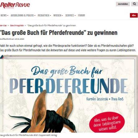 Reiter Revue verlost 5 x Das große Buch für Pferdfreunde