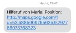 "Guardian Horse Notfall-SMS ""Hilferuf von Maria!"""