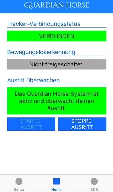 Guardian Horse Screenshot - System ist aktiv und überwacht deinen Ausritt