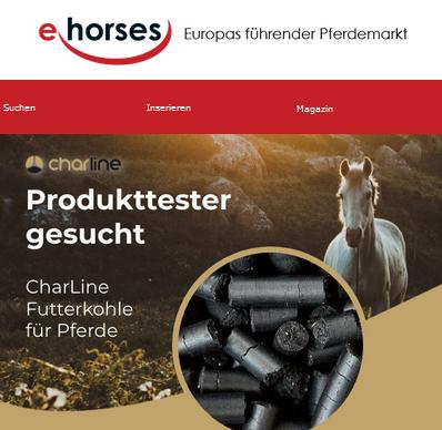 ehorses sucht Produkttester für CharLine Futterkohlefür Pferde