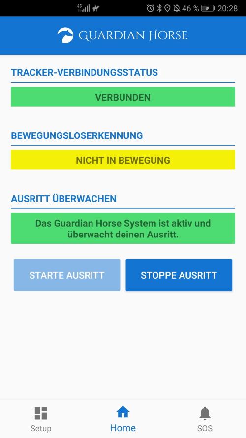 Guardian Horse Unfalltracker Screenshot ohne Bewegungsloserkennung -