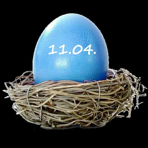 Osterei blau 11. April 2020