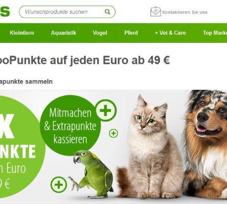 Doppelte zooPunkte auf jeden Euro ab 49 € bei zooplus