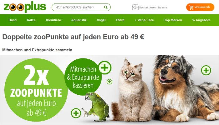 zooplus doppelte zooPunkte ab 49 Euro