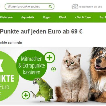 Doppelte zooPunkte auf jeden Euro ab 69 € bei zooplus